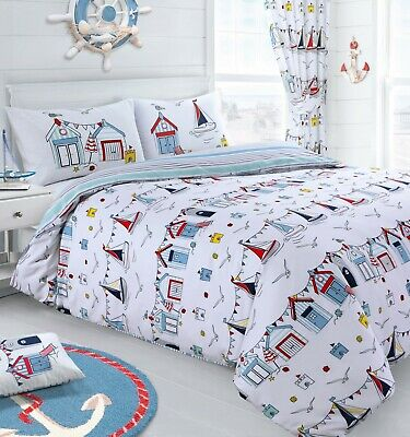 Nautical Seaside Beach Sail Boat Reversible Duvet Cover & Pillowcase Bedding Set • 11.95£
