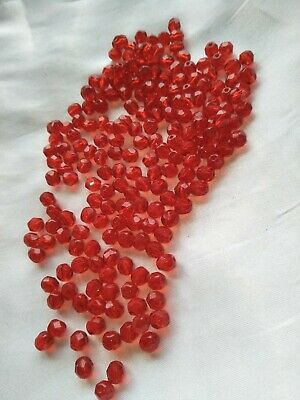 AU2.99 • Buy 25g Bright Red Small Faceted Czech Firepolished Glass Beads 6mm (jb3010)