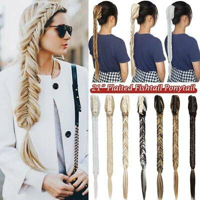 £11.90 • Buy Real Long Fishtail Plait Clip In Jaw Claw Braided Ponytail Hair Piece Extensions