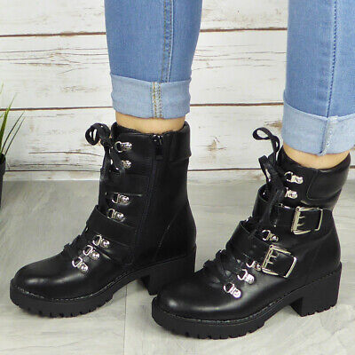 Ladies Ankle Boots Womens Goth Punk Lace Up Chunky High Heel Platform Shoes Size • 20.90£