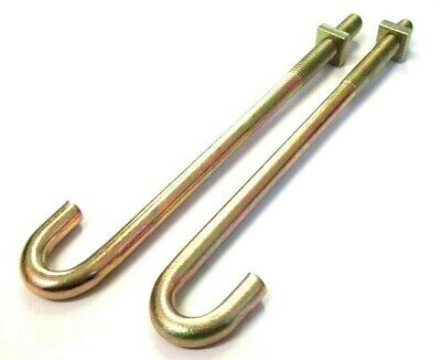 J Hook Bolt With Nuts. M8 X 160mm. BZP. Roofing Fencing. Pack Of 2. *Top Quality • 3.45£