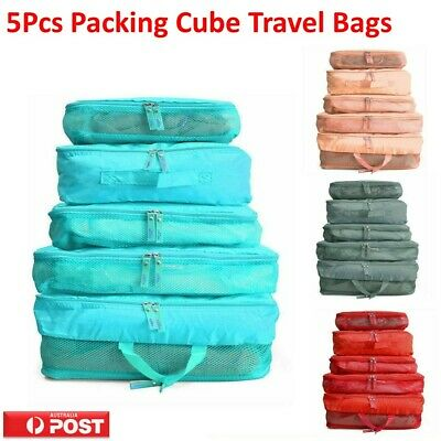 AU8.68 • Buy 5pcs Packing Cube Pouch Suitcase Organiser Clothes Storage Bags Travel Luggage