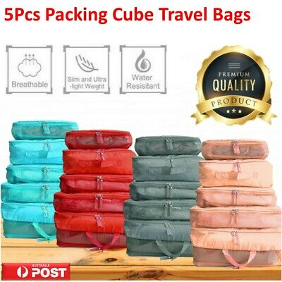 AU8.96 • Buy 5Pcs Packing Cube Travel Pouch Luggage Organiser Clothes Suitcase Storage Bag AU