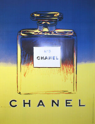 $1400 • Buy Original Vintage Chanel Poster Yellow Blue By Andy Warhol 1997 Perfume Fashion