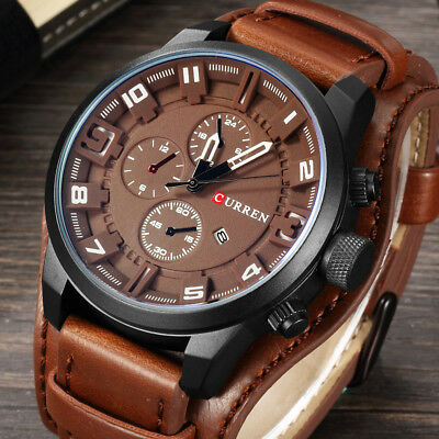 AU18.56 • Buy Men Leather Strap Military Watches Waterproof Sport Wrist Date Quartz Wristwatch