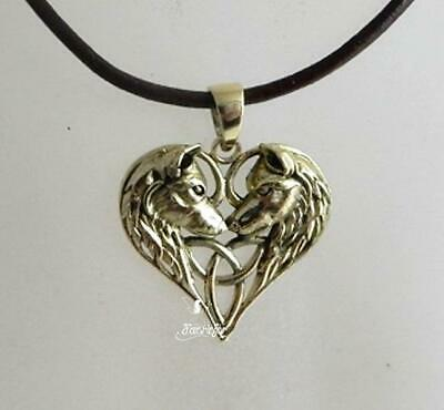 Wolf Heart Bronze Pendant Necklace By Lisa Parker Wolves On Black Waxed Cord • 8.95£