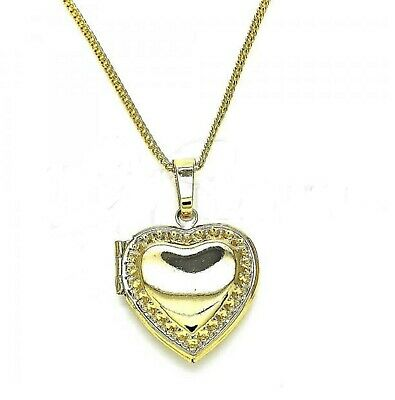 New 9ct Gold Filled Medium  Engraved  Heart Locket Pendant  Chain Necklace  567 • 18.99£