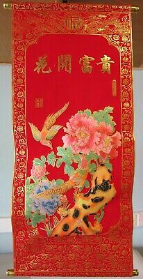 Chinese Feng Shui Red & Gold Velveteen Wall Hanging Scroll Birds & Flowers • 10.50£