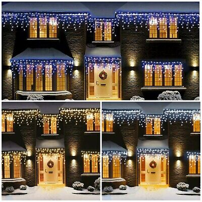 Christmas 200/360/480/720/960/1200 Led Icicle Snowing Xmas Chaser Lights Outdoor • 14.99£