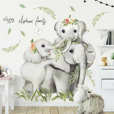 Elephant Family Animal Wall Stickers Kids Art Nursery Baby Cot Decal Decor DIY • 16.35£