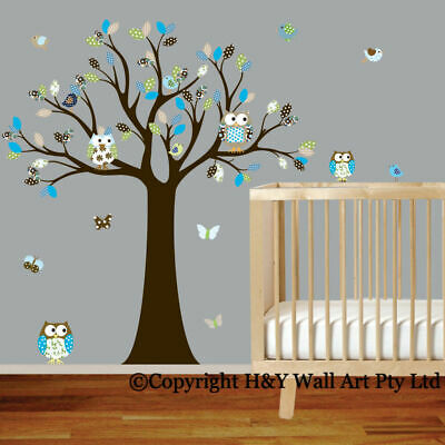 Cot Side Owl Tree Removable Wall Stickers Boys Decal Nursery Kid Art Mural Decor • 31.35£