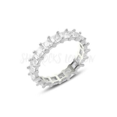 RHODIUM PLATED 925 SILVER ETERNITY RING - 3mm PRINCESS CUT CUBIC ZIRCONIA • 19.95£