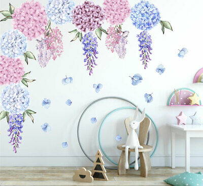 Large Hydrangea Wisteria Flower Wall Decal Kids Nursery Decor Baby Cot Sticker • 40£
