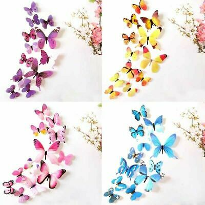 £2.99 • Buy 12 X 3D Butterfly Wall Stickers Home Decor Room Decoration Sticker Bedroom Girl
