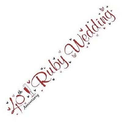 2.5m 40th Ruby Wedding Anniversary Foil Banner 40 Years Party Decoration Decor • 2.35£