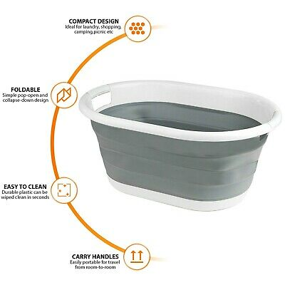 Collapsible Laundry Basket Folding Cloth Washing Pop Up Storage 22L Silicone Bin • 10.99£