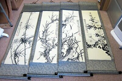 Set Of Four Hand Finished Chinese Scrolls Wall Hangings Floral Flowers Seasons • 62£