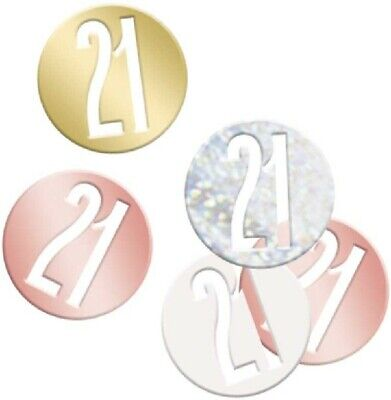 14g 21st Rose Gold Glitz Table Scatters Confetti Ladies 21 Birthday Party Silver • 2.39£