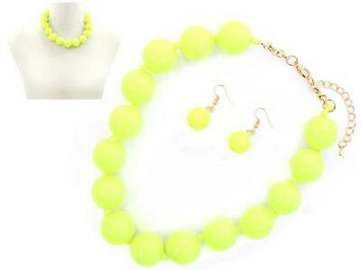 $9.99 • Buy 22mm Neon Yellow Beaded Ball Necklace Set With Knotted Chord ( 6778 )