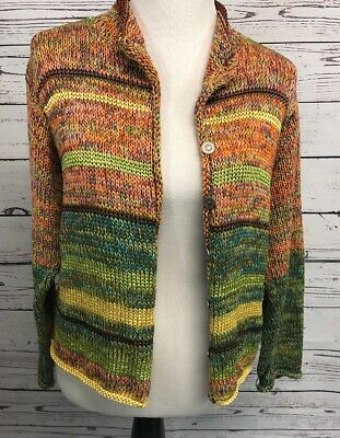 $ CDN36.11 • Buy Anthropologie BAE CASTRO Sweater M Hand Loomed USA Button Up Beautiful