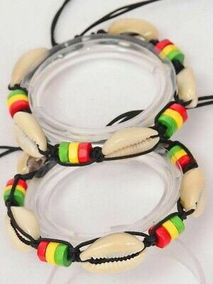 $19.95 • Buy Lot Of 12 Sea Shell Bracelets Cord Rasta Reggae Wood Beads Cowrie Party Favors
