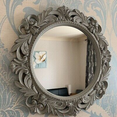 51cm Rustic Grey Ornate Round Wall Mirror Round Filigree Girls Room Wall Mirror  • 21.99£