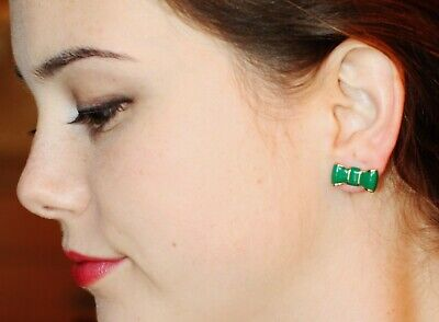 $ CDN65.06 • Buy Kate Spade New York  Take A Bow  Emerald Green Enamel Bow Beau Stud Earrings