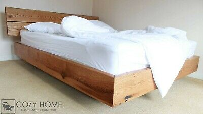 Oak Bed, Solid Wood, Oak Bed Frame, Queen Size, Handmade Rustic Style • 800£