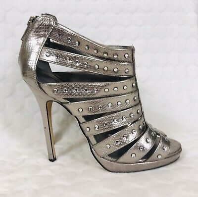 Aldo Shoes 6 Pewter Strappy Cage Diamanté High Stiletto Evening Occasion Party • 14.95£