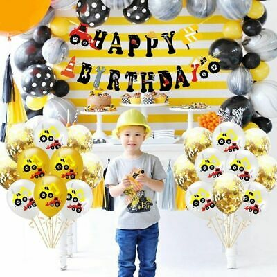 AU9.34 • Buy Boys Birthday Banners Construction Themed Party Decor Tractor Excavator Balloons
