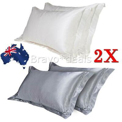 AU10.95 • Buy 2in 1 Silk Satin Pillow Case Cover Solid Standard Bedding Smooth Soft Pillowcase