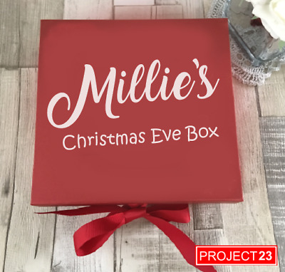 PERSONALISED CHRISTMAS EVE GIFT BOX NAME Xmas Present Custom Santa Sticker Decal • 2.45£