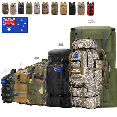 AU34.99 • Buy 30L/40L/80L Military Tactical Backpack Rucksack Camping Hiking Bag Sport Travel