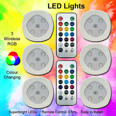 £11.49 • Buy RGB Color Changing LED Lights Home Wireless Remote Control Spotlights Set Of 3/6