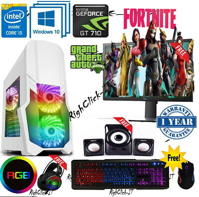Fast Gaming PC Computer Bundle Intel Quad Core I5 16GB 1TB Windows 10 2GB GT710 • 329.99£