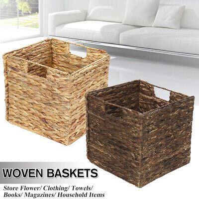 Foldable Seagrass Woven Baskets Flower Laundry Storage Organizer Home Decor • 11.32£