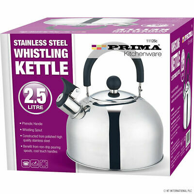 Whistling Kettle 2.5 Litre Stainless Steel Stove Top Induction Gas Boil Kitchen • 11.49£