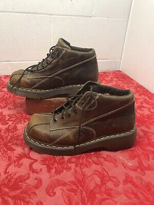 Doc Dr Martens Ankle Boots Dark Brown Leather Flowers 12281 Womens UK 7 US 9 EUC • 49.95$