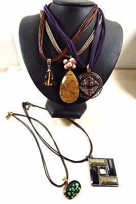 $ CDN74.15 • Buy Lot Of 5 Multi Color Style Design Cord Necklaces Coldwater Creek Lia Sophia