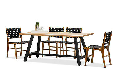 AU1503 • Buy Industrial 1.8m Oak Rectangular Dining Table 5 Pce Set W 4x Black Leather Chairs