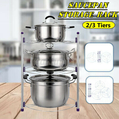 AU25.62 • Buy 2/3/5 Tiers Frying Pan Pot Storage Rack Shelf Stand Kitchen Cookware Organizer