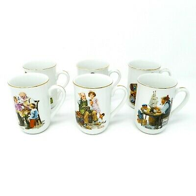 $ CDN34.50 • Buy Norman Rockwell Porcelain Mugs 1982 Museum Collector Mugs Set Of 6