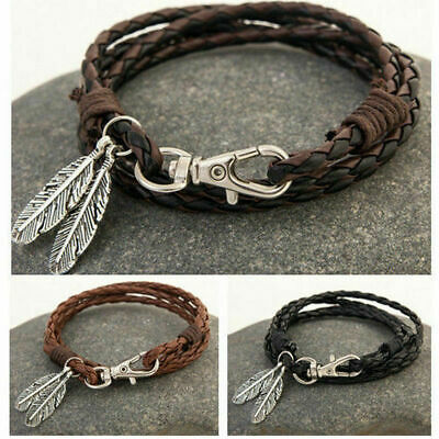 Mens Womens Surfer Patrol Leather Bracelet Feather Clasp Cord Wristband Gift Box • 3.99£