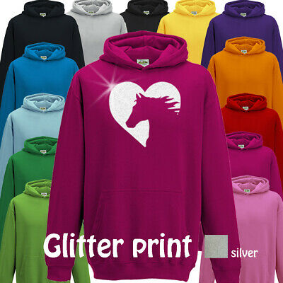 Horse Pony Hoodie Girls Childs Riding Clothing Top Equestrian Gift Glitter • 16.95£