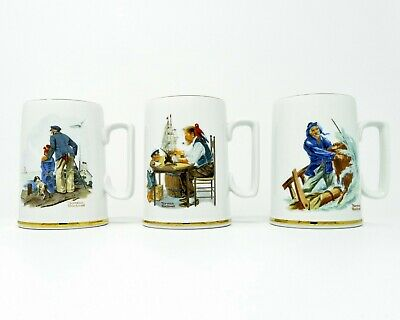 $ CDN20.69 • Buy Norman Rockwell Porcelain Mugs 1985 Museum Collector Mugs 10 Oz Tankard Set Of 3