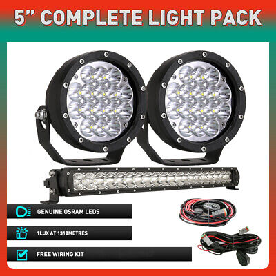 AU73.93 • Buy White Pair 5inch OSRAM Round LED Driving Lights Spotlights Work Offroad 4WD SUV