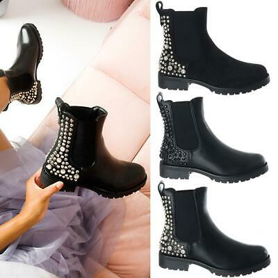Ladies Womens Flat Low Block Heel Studded Pull On Chelsea Ankle Boots Shoes Size • 17.99£