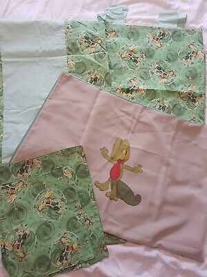 Tab Top Curtains And Matching Unstuffed Cushions Green • 10£