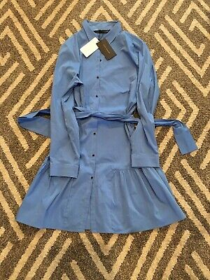 NEW WITH TAGS AUTHENTIC ZARA NEW SHORT SHIRT DRESS WITH BELT Blue 2XL Button Dow • 39.99$
