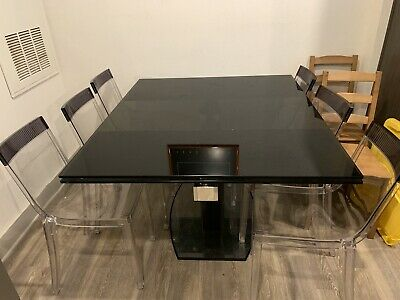 $999 • Buy Bloomingdale's 6 PC Glass Top Dining Room Table Set W/ Calligaris Chairs & Leaf.